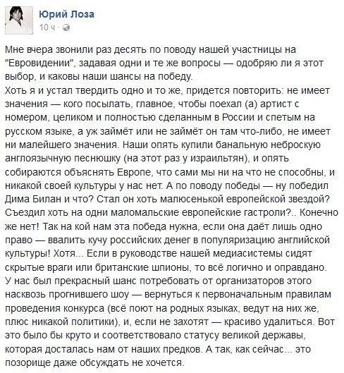 Юрий Лоза о евровидении