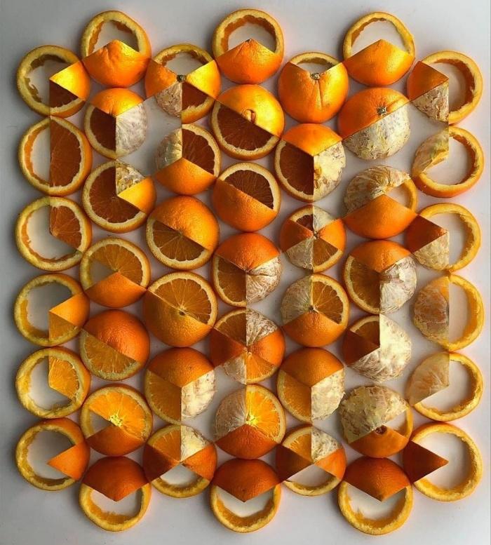 Геометрически нарезанные апельсины