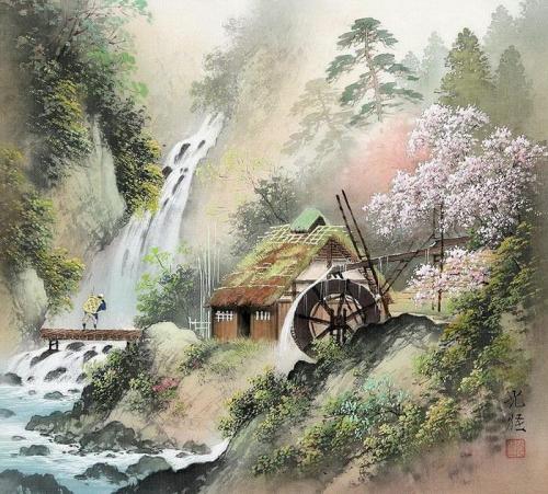 Рисунки в старинном Японском стиле сансу